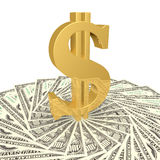 Het dollarteken op de rekeningen Stock Foto