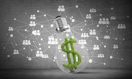 Het dollarteken plaatste binnenlightbulb Stock Afbeelding