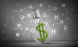 Het dollarteken plaatste binnenlightbulb Stock Fotografie