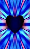 Het donkerblauwe hart in het midden divergeert de gekleurde strepen aan de randen Voor de Moedersdag, Valentijnskaartendag Stock Afbeelding