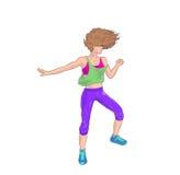 Het donkerbruine dansen Zumba vector illustratie