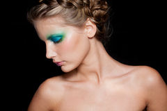 Het Donkerbruine Meisje van de manier. Mooi Make-up en Haar Stock Foto's