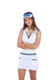 Het donkerbruine meisje van de tennissport met witte kleding royalty-vrije stock foto