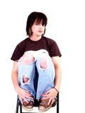 Het donkerbruine Meisje van de Tuimelschakelaar Royalty-vrije Stock Afbeelding