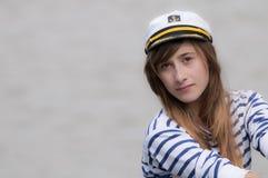 Het Donkerbruine Meisje van de zeeman royalty-vrije stock foto