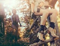 Het donkerbruine meisje van het manierportret in het varkenskot van het de herfst bosland Stock Foto
