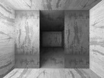 Het donkere concrete binnenland van de kelderverdiepingsruimte met uitgangslicht Architectu Royalty-vrije Stock Foto's
