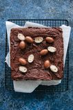 Het donkere die vierkant van de chocoladebrownie op een draadrek met crea wordt verfraaid Royalty-vrije Stock Foto's