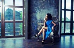 Het donkere Haired Model van de Lingerie Stock Foto