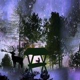 Het donkere landschap van de nachtwinter met silhouetten van bomen, dieren en sterren royalty-vrije illustratie