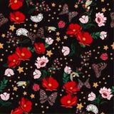 Het donkere Retro bloeien bloeit in de nacht met insect, bijen, boter stock illustratie