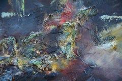 Het donkere schilderen met rode en groene plonsen Stock Foto's