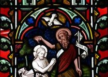 Het doopsel van Jesus Christ in gebrandschilderd glas Royalty-vrije Stock Foto