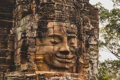 Het doorstane, korstmos-Behandelde Steen Hoofdstandbeeld in Angkor Wat, Siem oogst, Kambodja, Indochina, Azië - zie in kleur onde stock afbeeldingen
