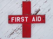 Het doorstane Teken van de Eerste hulp stock fotografie