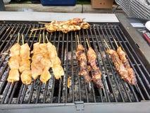 Het doorstoken Vlees Koken op een BBQ Grill Royalty-vrije Stock Afbeelding