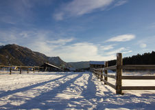 Het dorp Askat in de sneeuw Royalty-vrije Stock Afbeelding