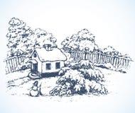Het dorp in de winter Vector tekening stock illustratie
