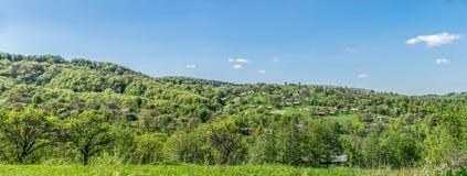 Het dorp in het hout op de heuvel royalty-vrije stock fotografie