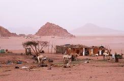 Het dorp van Beduins in Sinai bergen Stock Fotografie