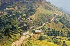 Het dorp van Chipling in Nepal Stock Afbeelding