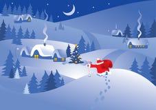 Het dorp van de kerstnacht. Vector. Stock Foto