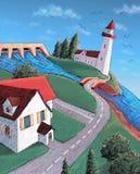 Het dorp van de kust Stock Foto