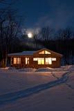 Het dorp van de nacht stock foto