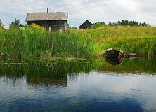 Het dorp van de rivieroever Stock Foto