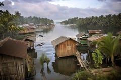 Het Dorp van de Visserij van Agusan stock afbeeldingen