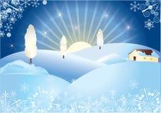 Het dorp van de winter royalty-vrije illustratie