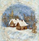 Het dorp van de winter, toepassing royalty-vrije illustratie