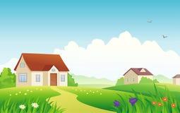 Het dorp van de zomer royalty-vrije illustratie