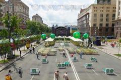 Het Dorp van Eurovisie van de ventilatorstreek op Kreschatik Stock Fotografie