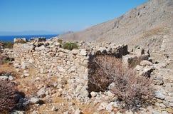 Het dorp van Gera blijft, Tilos-eiland stock afbeeldingen