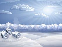 Het dorp van het hoogland in de winter stock illustratie