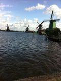 Het dorp van Holland windwill Stock Foto's