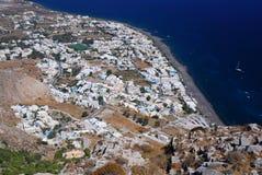 Het dorp van Kamari, eiland Santorini, Griekenland Stock Foto