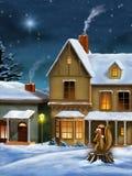 Het dorp van Kerstmis vector illustratie