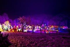 Het dorp van Kerstmis in de meest forrest vallei stock foto