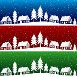 Het dorp van Kerstmis met sneeuw naadloos patroon Stock Fotografie