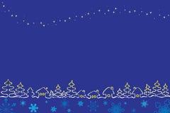 Het dorp van Kerstmis met sterren Royalty-vrije Stock Afbeelding