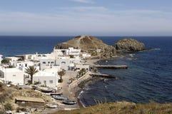 Het dorp van La Isleta del Moro, Cabo DE Gata, Nijar, Almeria stock foto's