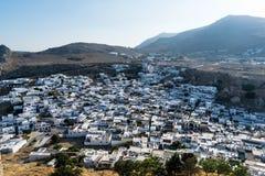 Het dorp van Lindos stock afbeeldingen