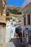 Het dorp van Lindos in Rhodos, Griekenland Stock Afbeeldingen
