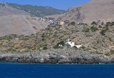 Het dorp van Loutro in Zuid-Kreta in Griekenland Stock Fotografie