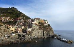 Het Dorp van Manarola in Cinque Terre van Italië stock afbeeldingen