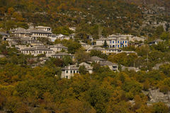Het dorp van Monodendri Stock Afbeelding