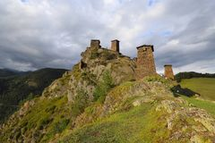 Het dorp van Omalo, Tusheti, Georgië royalty-vrije stock fotografie