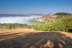 Het dorp van Payrusel bij zonsopgang Stock Foto